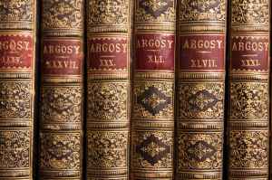 Argosy books on a shelf